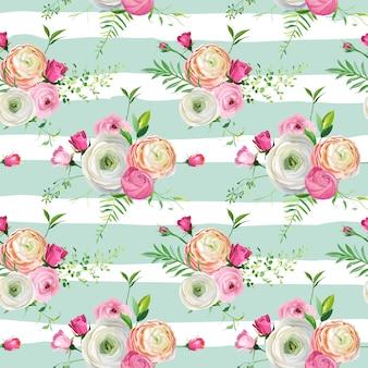 Naadloze bloemmotief met roze rozen en ranunculus bloemen. botanische achtergrond voor stof textiel, behang, inpakpapier en decor. vector illustratie