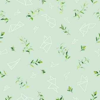 Naadloze bloemmotief met tropische bladeren en geometrische vormen