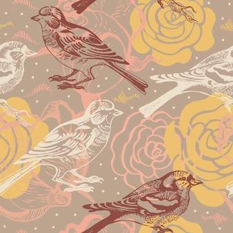 Naadloze bloemmotief met vogel