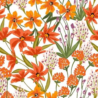 Naadloze bloemmotief met wilde bloeiende bloemen en planten.