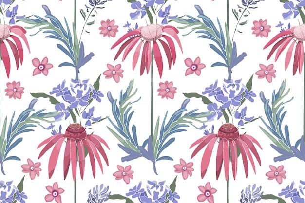Naadloze bloemmotief met zonnehoed, echinacea, rozemarijn.