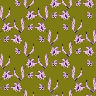 Naadloze bloemmotief. mooie botanische herhalingstextuur met takken, bladeren, bloemen om af te drukken