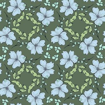 Naadloze bloemmotief. mooie botanische herhalingstextuur met takken, bladeren en bloemen voor print, stof, textiel, behang in zachte kleuren. hand getekende inkt illustratie in lijn kunststijl.