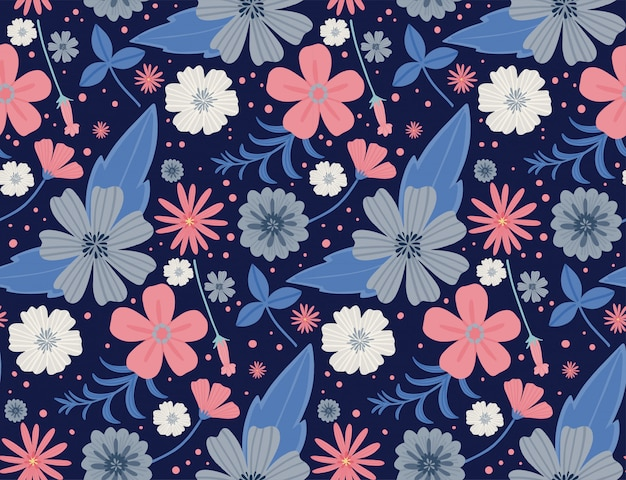 Naadloze bloemmotief. mooie kruiden en bloemen, bloemenelementen. naadloze vectortextuur.