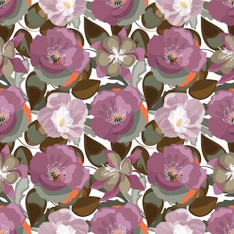 Naadloze bloemmotief. pruimkleurige papavers, ipomoea, olijfkleurige aquilegia akeleibloemen en geïsoleerde bladeren
