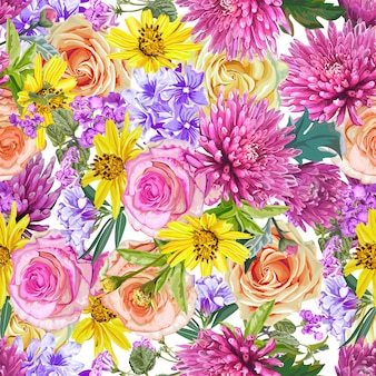 Naadloze bloemmotief, roes, chrysanthemum, kleine ster, oleander bloemen