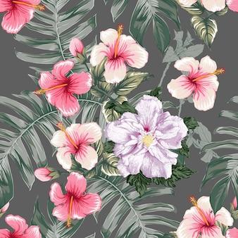 Naadloze bloemmotief roze hibiscus bloemen achtergrond.