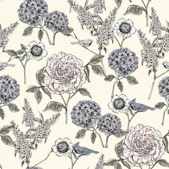 Naadloze bloemmotief. trendy hand getrokken texturen.