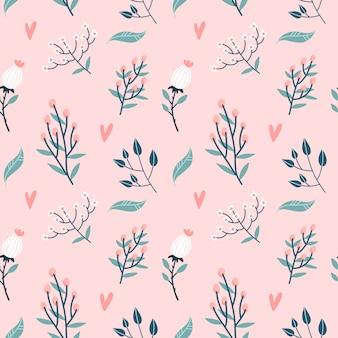 Naadloze bloemmotief. tuin bloemen takken, knoppen en harten op pastel roze achtergrond. rozen bloeien knop met bladeren en wilde bloemen takjes decoratieve achtergrond. vlakke afbeelding.