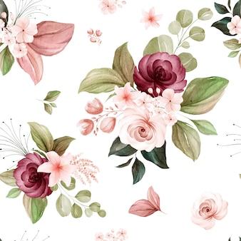Naadloze bloemmotief van bruin en bordeaux aquarel rozen en wilde bloemen arrangementen