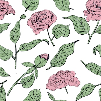 Naadloze bloemmotief. vectorpatroon met mooie pioenbloem. zachte bloei