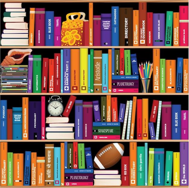 Naadloze boekenplank patroon.
