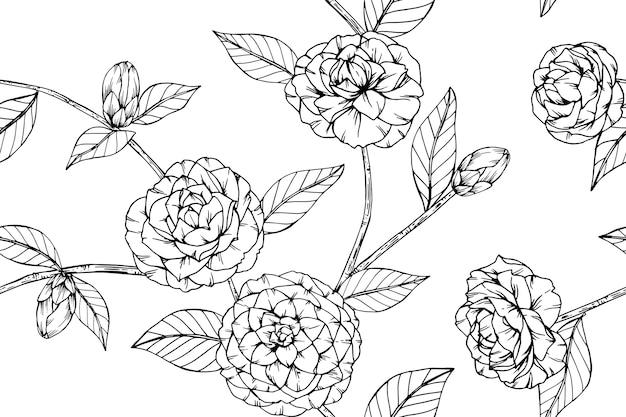 Naadloze camellia bloem patroon achtergrond.
