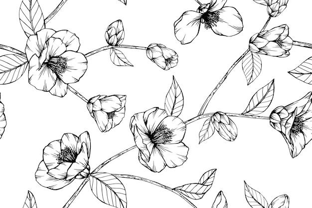 Naadloze camellia japonica-bloempatroonachtergrond.