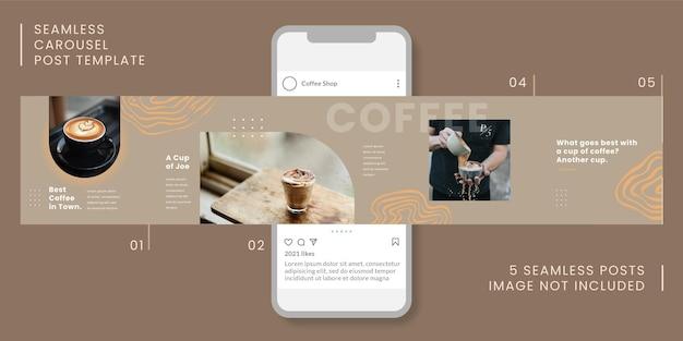 Naadloze carrousel postsjabloon met koffiethema voor sociale media.