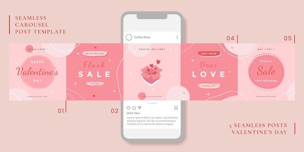 Naadloze carrousel postsjabloon met valentijnsdag thema voor sociale media.