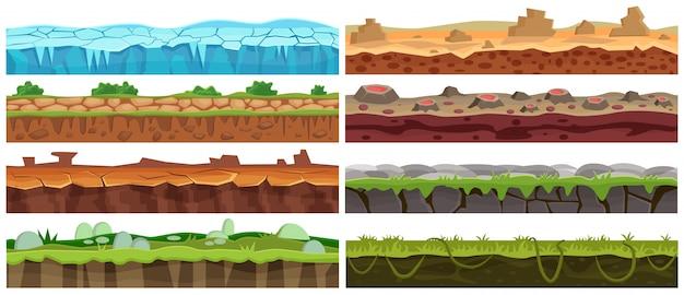 Naadloze cartoon landschap ontwerpset. verzameling op de begane grond voor game-interface.