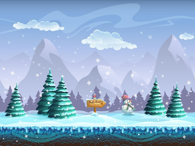 Naadloze cartoon met winterlandschap teken sneeuwpop en goudvink