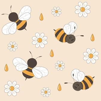 Naadloze cartoon patroon met bijen bloemen camomiles en druppels honing