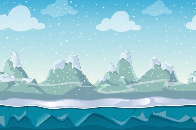 Naadloze cartoon vector winterlandschap voor computerspel. sneeuw en lucht berg, buitenomgeving illustratie