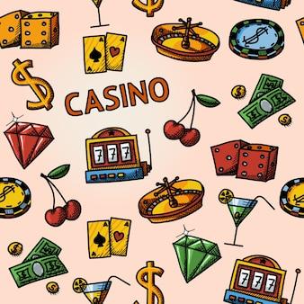 Naadloze casino handgetekende patroon
