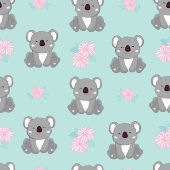 Naadloze cute cartoon koala patroon