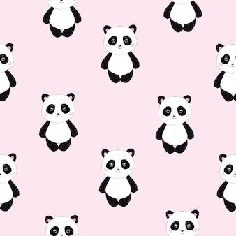 Naadloze cute cartoon panda patroon