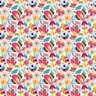 Naadloze de krabbelstijl van de patroonvogel met aardbladeren en gebladertebloesem en bloeiende bloem