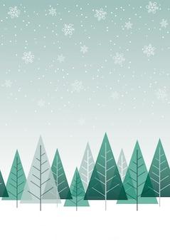 Naadloze de winter bosachtergrond, vectorillustratie. horizontaal herhaalbaar.