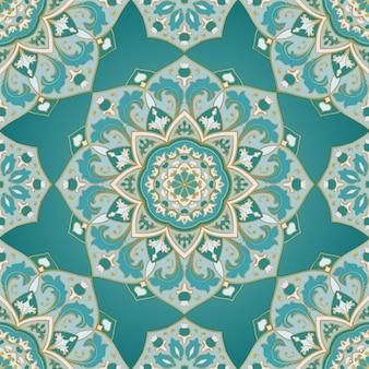 Naadloze decoratieve achtergrond. gestileerd turkoois mozaïek. oosters blauw patroon.