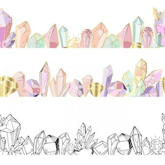 Naadloze decoratieve randen, kristallen en edelstenen