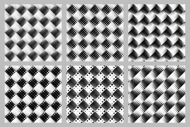 Naadloze diagonale vierkante patroon achtergrond set