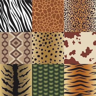 Naadloze dierenhuidpatronen instellen. safari-textiel van giraf, tijger, zebra, luipaard, reptiel, koe, slang en jaguar achtergrondcollectieillustratie