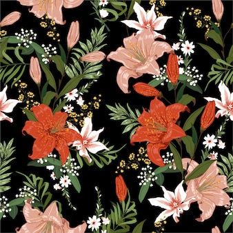 Naadloze donkere booling lelie en tropisch bloem naadloos patroon
