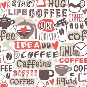 Naadloze doodle koffie patroon hand getrokken illustratie.