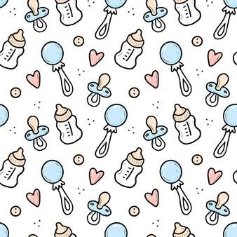 Naadloze doodle patroon van babyding