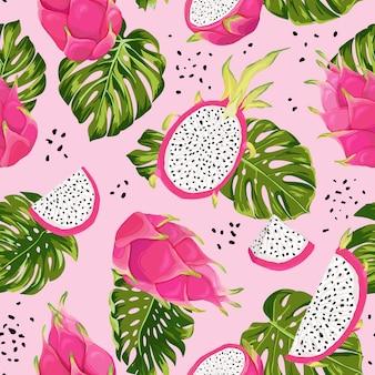 Naadloze dragon fruit patroon, aquarel pitaya en monstera bladeren achtergrond. hand getekend zomer tropisch fruit textuur. vectorillustratieomslag, tropisch behang, vintage achtergrond