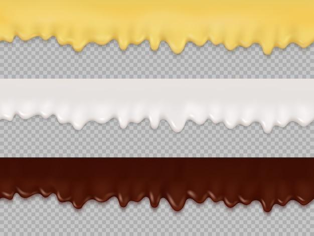 Naadloze druppels crème, glazuur en chocolade