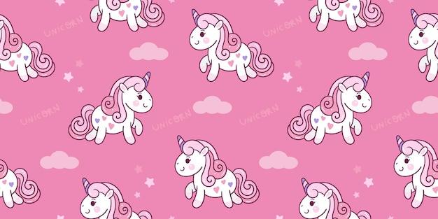Naadloze eenhoorn cartoon met wolk pony patroon kawaii dier Premium Vector