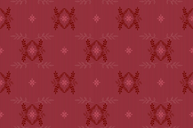 Naadloze elegante damast stijl vector patroon - bloemen sierlijke, donkerrode koninklijke kleur