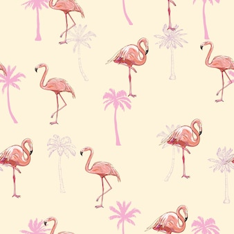 Naadloze flamingo patroon vectorillustratie