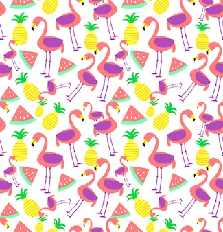 Naadloze flamingo patroon
