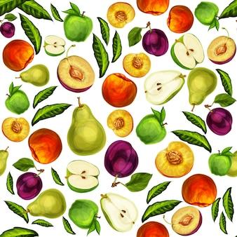 Naadloze gemengde gesneden fruit patroon achtergrond