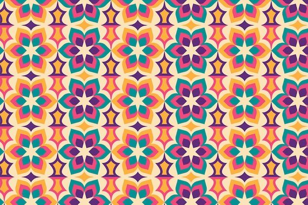 Naadloze geometrische bloemen groovy patroon textuur