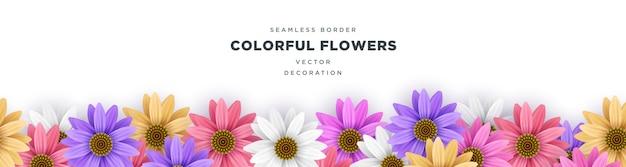Naadloze gerbera daisy flower decoratieve framerand