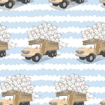 Naadloze getrokken kawaii katten op vrachtwagenpatroon.