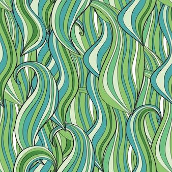 Naadloze golf handgetekende patroon, golven achtergrond. kan worden gebruikt voor behang, opvulpatronen, webpagina-achtergrond, oppervlaktestructuren