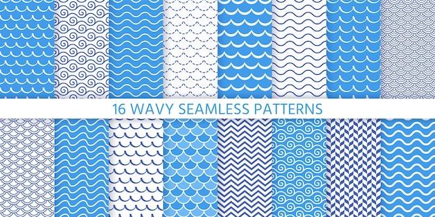 Naadloze golfpatroon. . blauwe golvende achtergrond. stel texturen in met strepen, getijden en rollen. zee geometrische prints. marine, nautisch ontwerp. eenvoudige moderne illustratie.