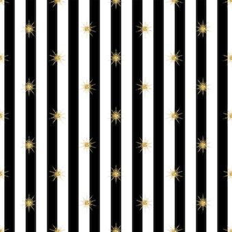 Naadloze gouden glittersterpatroon op zwarte achtergrond