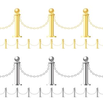 Naadloze gouden hek en stalen hek op wit